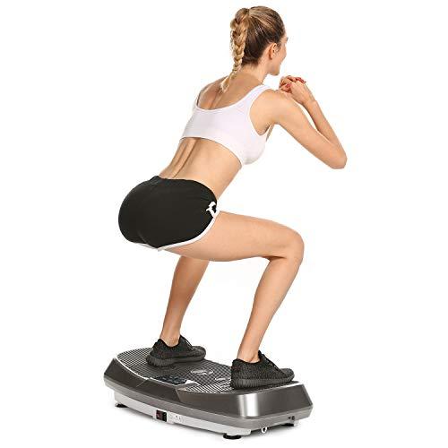 Profun Fitness Plataforma Vibratoria Tecnología de Vibración Rocker 3D para Modelar el Cuerpo en Casa con Motor Silencioso/Cable de Alimentación/Bandas de Entrenamiento/Control Remoto (Gris)