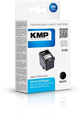 KMP Druckerkartusche Kompatibel HP 62 C2P04AE Schwarz Tintenpatrone für HP DeskJet Ink Advantage, Envy, e-All-in-One, Deskjet, All-in-one, OfficeJet, C, Series, Mobile, Druckerpatrone