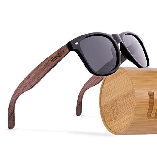 WOODIES Polarized Walnut Wood Sunglasses for Men...