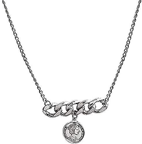 WYDSFWL Collares Collar Facabi Collar Medalla de Malla Gruesa Collar para Mujer Collar Cadena Colgante para Mujeres Hombres