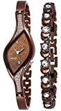 PAPIO Diamond Studded Analogue Brown Dial Women's Watch with Brown Color Bracelet P-WC