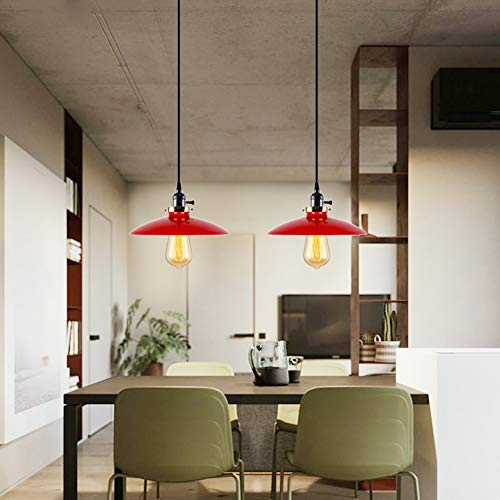 T&A UFO Industrial Pendant Lights Edison Vintage Style,2 Light Kitchen Antique Brass Hanging Lighting Fixture(Red)