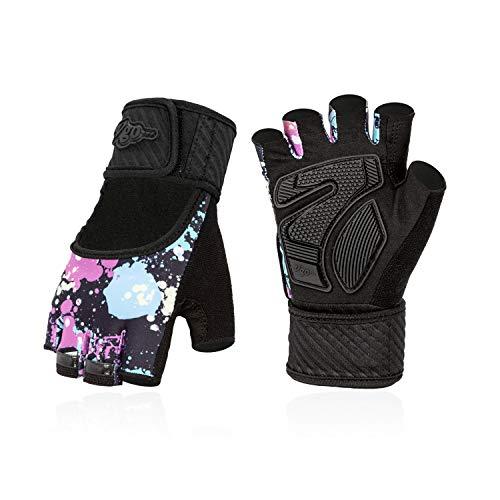 Vgo... 2 Paare für Jugend zwischen 11 und 12 Jahre alt, Rollschuhe- und Skateboardhandschuhe, halbfinger, atmungsaktiv, Outdoor-Handschuhe mit Rutschfester Palmen (Jugend-M, Blau mit Lila, SL6083-J)