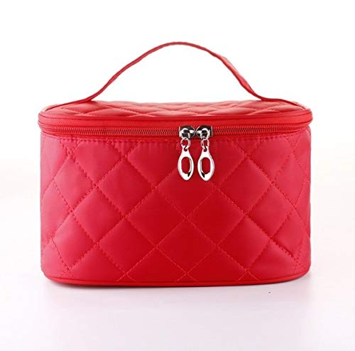 Amio Boîte à maquillage, sac cosmétique portable carré carré rhombique simple, trousse à maquillage portative de voyage, boîte de rangement pour bijoux ongles beauté (Color : Red)