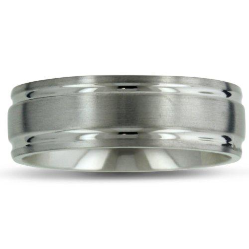 8MM High Polish Matte Finish Mens Titanium Wedding Band Ring, Available Ring Sizes - 7 - 13.5, Ring Size 13.5