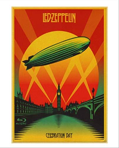 DPFRY Leinwand Malerei Britischen Rock Band Led Zeppelin Retro Poster Vintage Poster Wand-Dekor Für Home Bar Cafe Core Dekorative Malerei Sl23Y 40X60 cm Rahmenlose