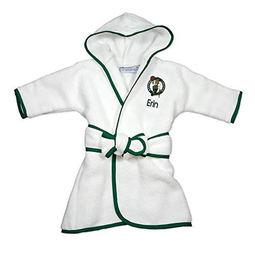 Boston Celtics Personalized Baby Bathrobe - Hooded Baby Robe with Embroidered Logo (White)