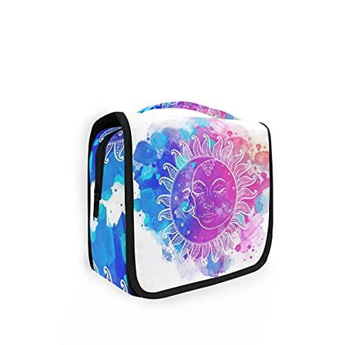 Bolsa de aseo colgante Sun Moon Watercolor Travel Bolsa de lavado grande para mujer Bolsa de cosméticos Organizador para mujeres niñas y niños Bolsa de ducha
