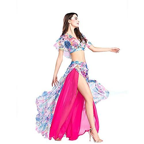 ROYAL SMEELA Top Gonna Danza del Ventre Vestito da Ballo Sexy Abiti da Prestazione Chiffon Floreale Costume da Ballo Attrezzatura Set per Le Donne