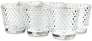 Koyal Wholesale Hobnail Glass Candle Holder (Pack of 6), 2.5 x 2.4