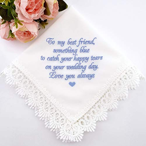 Something Blue for Bride Gift for Bride from Maid of Honor Best Friend Wedding Gift to Bride from Bridesmaid Bridal Handkerchief Blue Hankerchief Bridal Shower Gift New Borrowed Old Embroidered