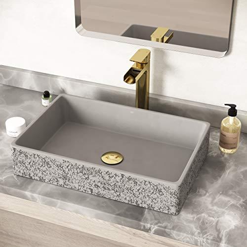 VIGO VG04054 13.88' -21.25' W -4.75' H Dahlia Handmade Concrete Rectangular Vessel Bathroom Sink in Ash Gray Finish