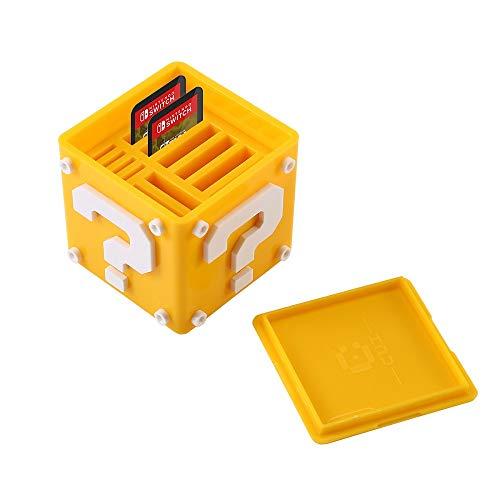 Spielkartenhalter für Nintendo Switch, Aolvo 12-in-1 Süße Spielkarten-Box, kompakte Aufbewahrungslösung, Organizer für bis zu 8 NS-Spielkarten und 4 Micro-SD-Karten, gelb