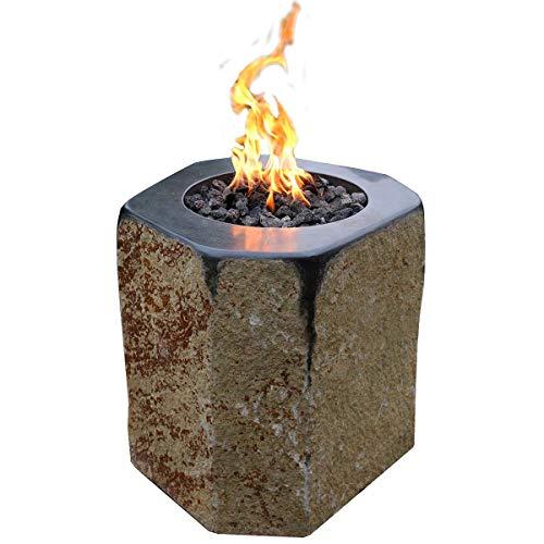 Kaminlicht Gas-Feuerstelle Derby aus Basalt Naturstein Garten Terrasse