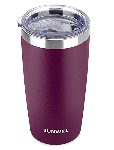 SUNWILL 20oz Tumbler with Lid, Stainless Steel Vacuum Insulated Double Wall Travel...