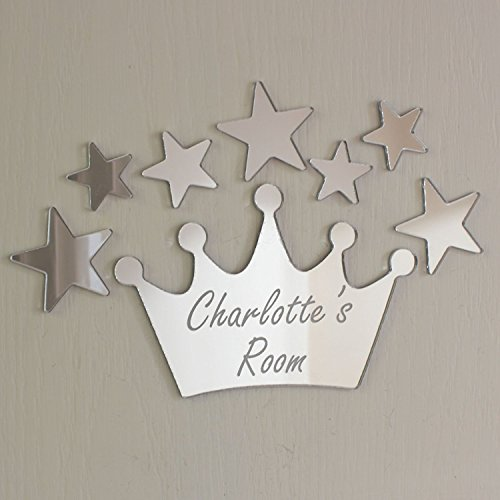 Laserables Princess Crown Mirror Set Personalised Door Name Plaque Boy Girls Bed Room Sign