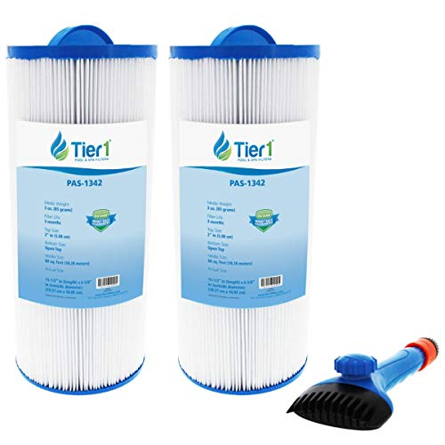 Tier1 Replacement for Jacuzzi J300 6541-383, PJW60TL-OT-F2S, Filbur FC-2715, Unicel 6CH-961 Spa Filter 2-Pack Bundle Replacement for Wand Brush Filter Cleaner
