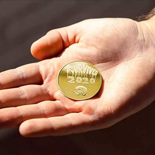 1pc Ich überlebte 2020 Gedenkmünzen Versilberte doppelseitige Quarantäne Souvenir Sammler Münze Covids Erinnerung für Geschenk Geschenk Neuheit Sammler Lucky Survivor Challenge Coin (gold, C)