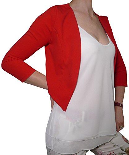Coprispalle Elegante Cerimonia Blaser Bolero Copriabito Manica 3/4 Donna Ragazza Colorati (Taglia Unica Veste da 40 a 42, Rosso)