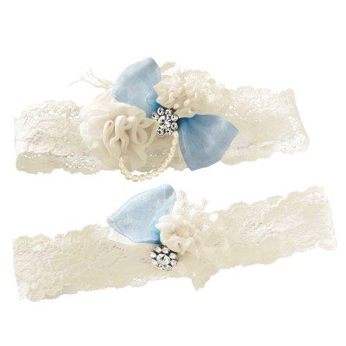 Ivy Lane Design Vintage Something Blue Bridal Wedding Garter Set, Medium, Ivory