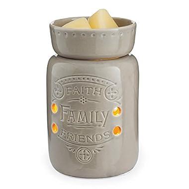Candle Warmers Etc. Midsize Illumination Fragrance Warmer, Faith, Family, Friends