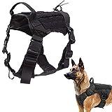 Tactical Dog Harness No Pull Military Dog Harness with Handle Working Dog Training Molle Vest Adjustable Training Vest Service Dog Vest Hook and Loop Panels (Black L)