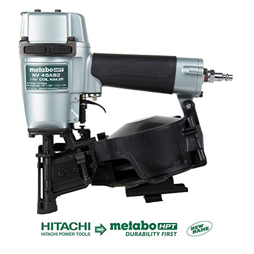 Metabo HPT Roofing Nailer, Pneumatic, Coil Roofing Nails from 7/8-Inch up to 1-3/4-Inch, 16 Degree Magazine, (NV45AB2)