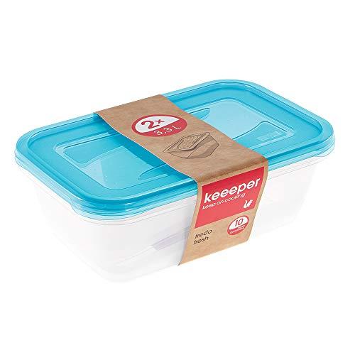 keeeper Set de 2 Fiambreras, 2 x 3,3 l, 29 x 19 x 9 cm, Fredo Fresh, Azul transparente, 30680