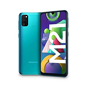 "Samsung Galaxy M21, Smartphone, Display 6.4"" Super AMOLED, 3 Fotocamere Posteriori, 64GB Espandibili, RAM 4 GB, Batteria 6000 mAh, 4G, Dual Sim, Android 10, 188 g, [Versione Italiana], Green"