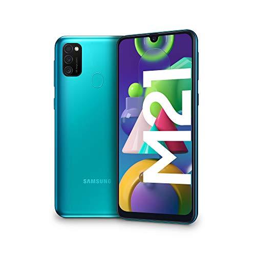 "Samsung Galaxy M21, Smartphone, Display 6.4"" Super AMOLED, 3 Fotocamere Posteriori, 64GB Espandibili, RAM 4 GB, Batteria 6000 mAh, 4G, Dual Sim, Android 10, 188 g, [Versione Italiana], Green"