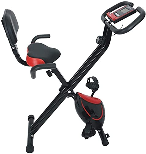 SAFGH Bicicleta estática Plegable para Interiores Bicicleta de Pedales estacionaria con Monitor LCD con 8 Niveles de Resistencia magnética Equipo Deportivo Ideal Cardio Trainer (actualización)