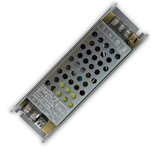 12V DC LED Trafo für Stripes - MR16 GU5.3 LED Halogen, ohne Mindestlast, kein Rauschen, kein Flimmern, Trafo Treiber Netzteil Transformator (dimmbar - 100 Watt - IP20)