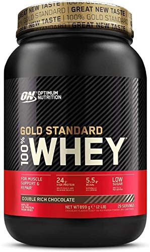 Whey: Optimum Nutrition Gold Standard Whey Protein Powder Muscle Building Supplements With Glutamine and Amino Acids, Double Rich Chocolate, 29 Servings, 900 g, Packaging May Var