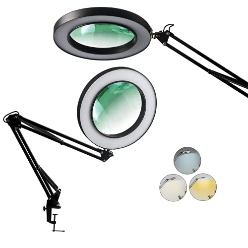Wellwerks Magnifying Lamp,Modern Desk Lamp with Clamp,Table...