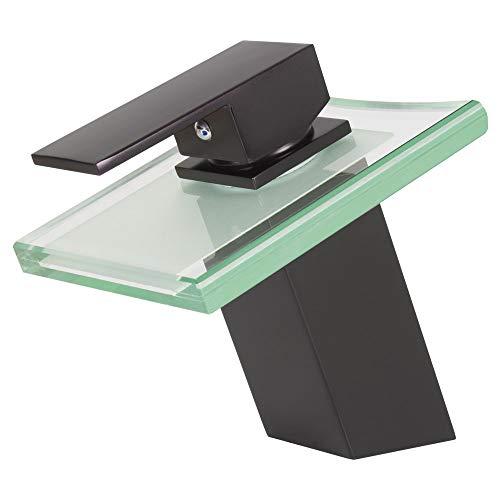TSGPS GmbH - Miscelatore squadrato per lavabo con erogazione a cascata in vetro, colore: Nero opaco