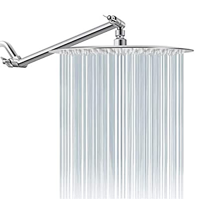 Rain Shower Head with 11'' Adjustable Extension Arm,High Pressure Stainless Steel Round Rainfall Showerhead, Ultra-Thin Design(12 Inch Shower Head with Arm, Chrome)