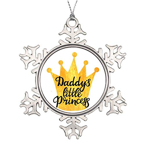 Promini Daddys Little Princess Hand Drawn Lettering With Christmas Tree Ornament, 3 Inch Aluminum Metal Snowflake Ornament Keepsake, Xmas Memorial Hanging Ornament, Gift for Dad