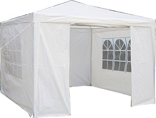 Airwave 3 x 3 m Party Tent Gazebo Marquee with Unique WindBar and Side Panels 120g Waterproof Canopy, White, 120g