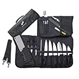 Chef Knife Roll Bag Stores 10 Knives, Meat Cleaver and Kitchen Tools – Includes 2 Knife Sheaths – Knives Not Included