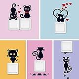 DIY creativo gato negro amor dibujos animados pegatinas de interruptor extraíbles PVC pegatina de pared vinilo calcomanía decoración del hogar pegatinas pasta de enchufe