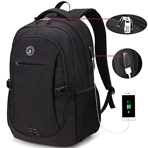 SOLDIERKNIFE Durable Waterproof Anti Theft Laptop Backpack Travel Backpacks Bookbag with usb Charging Port for Women & Men School College Students Backpack Fits 15.6 Inch Laptop Black
