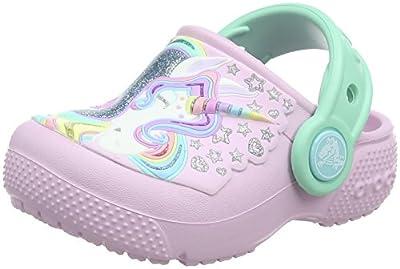 Crocs Kids' Fun Lab Unicorn Clog, Ballerina Pink/New Mint, 13 M US Little Kid
