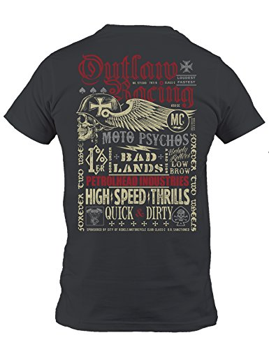 Petrolhead: Outlaw Racing - Camiseta Motor - Regalo Hombre - T-Shirt Racing - Camisetas Coches - Tuning - Moto - Coche - Car - Cafe Racer - Biker - Rally - JDM - Unisex (L)