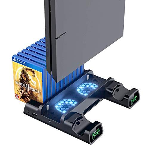 Base de resfriamento compatível com PS4/PS4 Pro/PS4 Slim,OIVO Controller Charging Dock Station com suporte vertical mais frio, carregador de controle duplo com indicadores de LED e 10 jogos de armazenamento