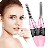 Heated Eyelash Curler, Electric Eyelash Curler with Eye Massager USB Rechargeable Quick Lash Curler Tool with LED Display 4 Temperature (Pink)