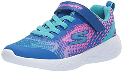 Skechers Kids Girls' GO Run 600-RADIANT Runner Sneaker, Blue/Multi, 13 Medium US Little Kid