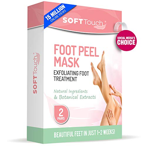 Soft Touch Foot Peel Mask, Exfoliating Callus Remover (2 Pairs Per Box) Cracked Heels, Dead Skin Treatment for Baby Soft Feet