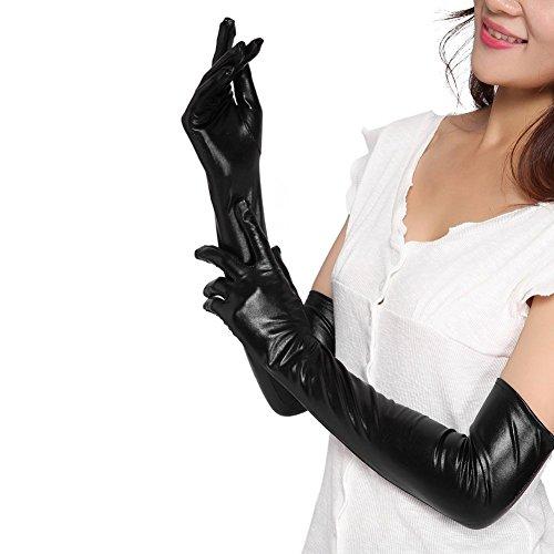 Lange Handschuhe für Damen, Kunstleder, sexy, Wet-Look, Latex, Schwarz