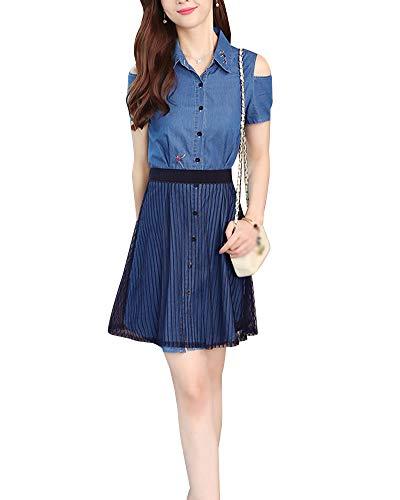 KasenA Damen Jeanskleid Hemdblusenkleid Tunika Jeans Blusenkleid Denim Kleid XL