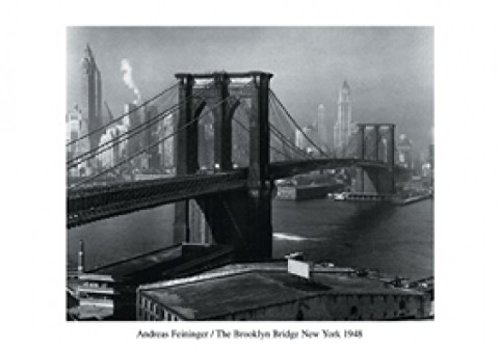 1art1 New York - The Brooklyn Bridge 1948, Andreas Feininger Poster Kunstdruck 100 x 70 cm